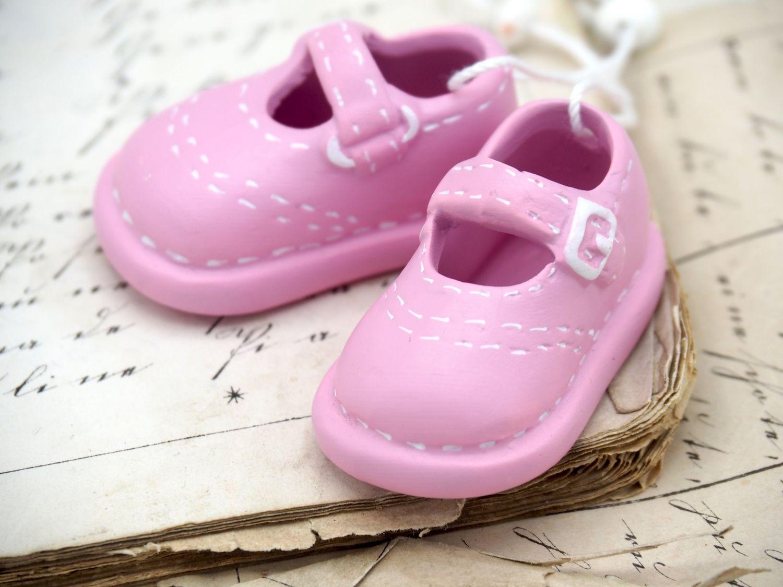 Babyschuhe Rosa Tortenaufsatz Mädchen Taufe Tischdeko Keramik Deko