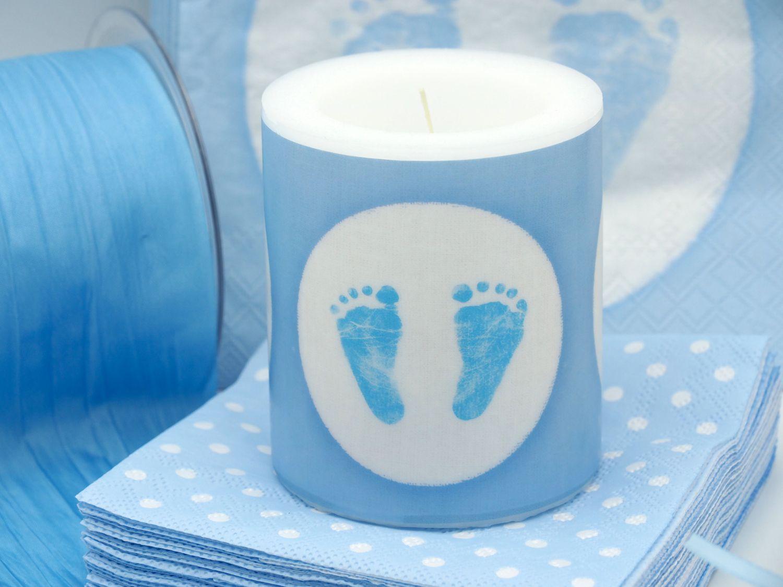 Tischdeko Taufe Blau Weiß Geburt Junge Baby SET 20 Personen