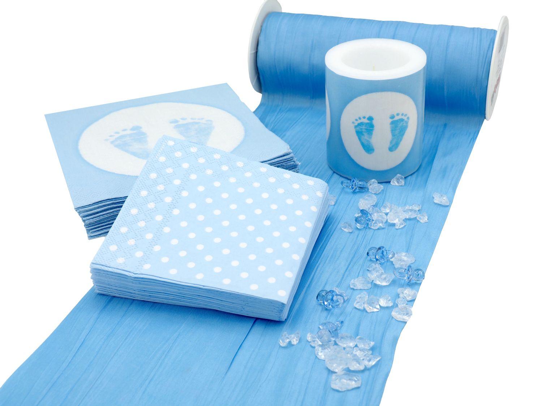 tischdeko taufe blau set 20 personen taufe tischdeko komplettsets. Black Bedroom Furniture Sets. Home Design Ideas