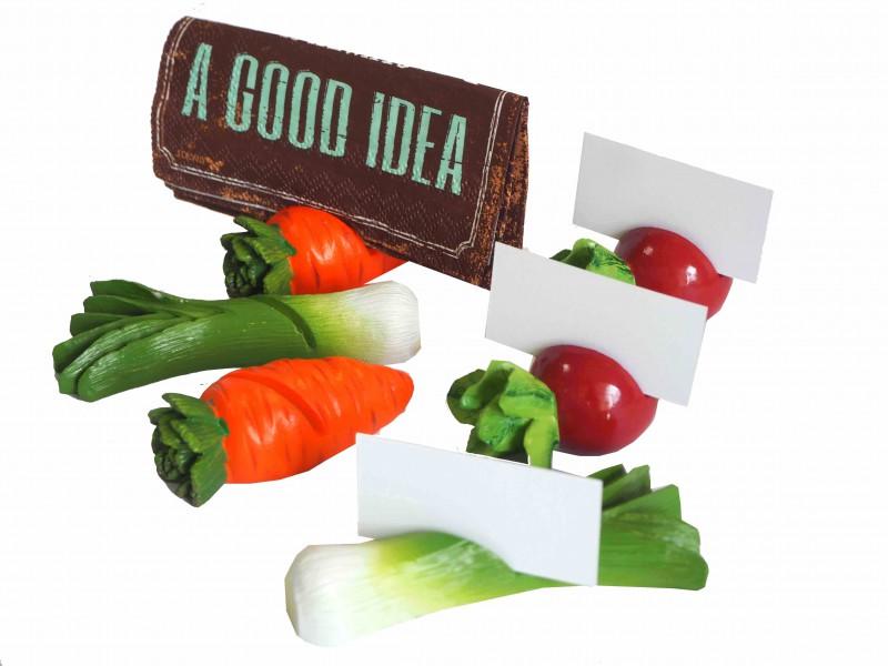6x Tischkartenhalter 6x Karten Gemüse Platzkarten Serviettenhalter Tischdeko Grillparty Deko