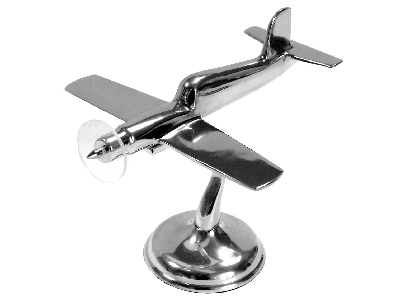 Flugzeug Silber Dekofigur Dekoobjekt Aluminium Mann Geschenk Tischdeko Weihnachten Fliegerei