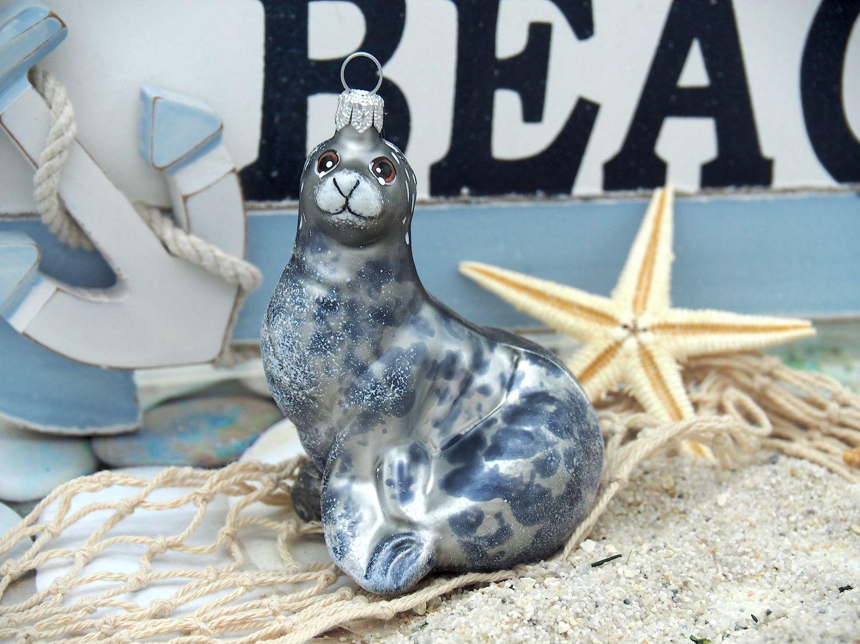 Seehund Robbe Christbaumschmuck Baumschmuck Weihnachten Kugel Maritim Deko
