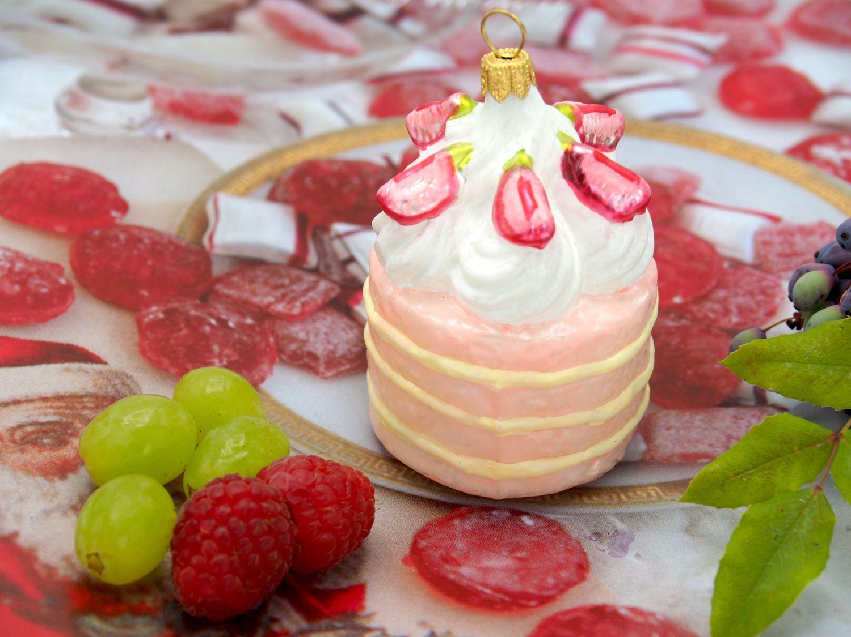 Erdbeertörtchen Erdbeerkuchen Weihnachtsbaumschmuck Christbaumschmuck Küche Deko