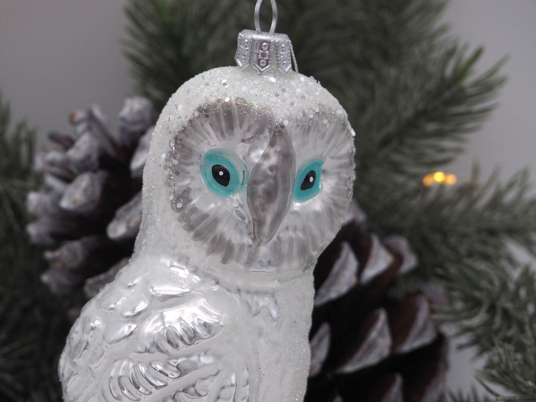 Eule Schneeeule Weiß Glas Weihnachtschmuck Weihnachten Adventskranz Deko Kugel
