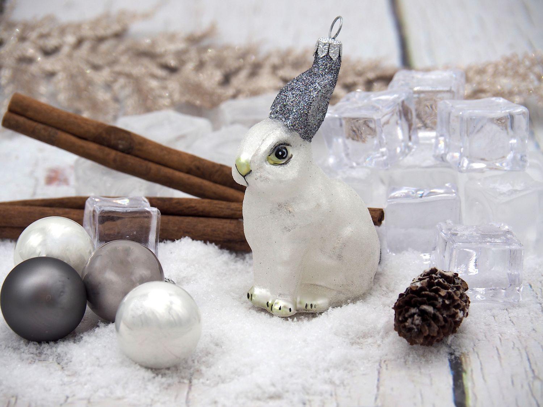 Hase Weiß Schneehase Christbaumschmuck Baumschmuck Weihnachten Dekoration Kugel
