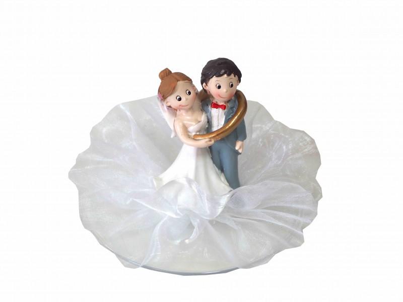 Tortendeko Tortenaufsatz Hochzeitspaar Brautpaar mit Ring Hochzeitstorte Figur Lustig