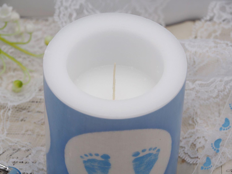 Kerze Babyfüße Fußabdruck Blau Weiß Taufe Geburt Junge Babyparty