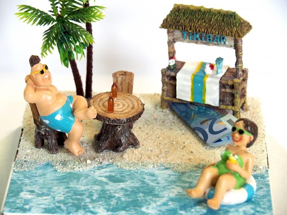 Geldgeschenk Verpackung Reisegutschein Paar Strandurlaub