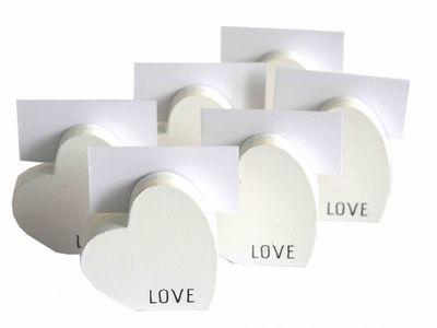 6x Tischkartenhalter 6x Karten Herz Holz Weiß