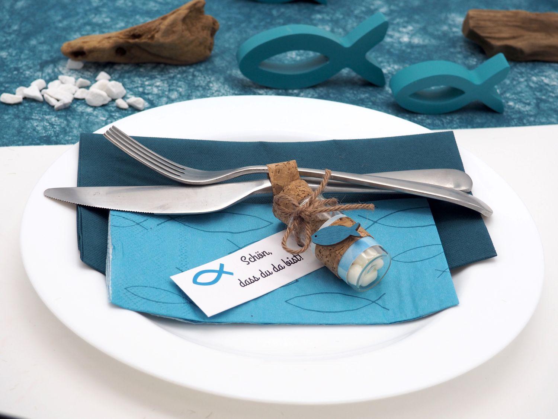 Servietten Fisch Petrol Blau Tischdeko Kommunion Konfirmation SET 20+20 Stück