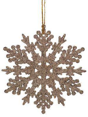 2 Anhänger Schneeflocke Gold Glitzer Weihnachten