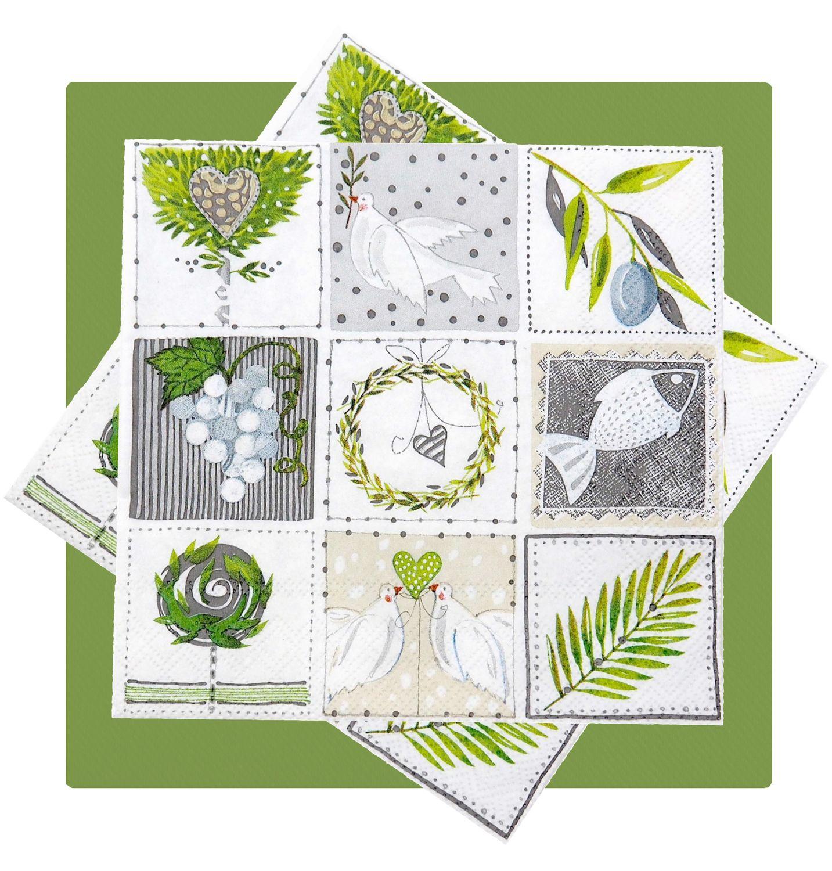 Servietten Christliche Symbole Grün Grau Tischdeko Kommunion Konfirmation SET 20+20 Stück