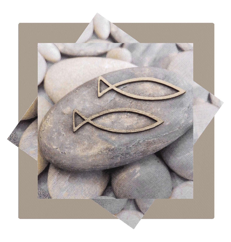 Servietten Steine Fisch Tischdeko Kommunion Konfirmation SET 20+20 Stück