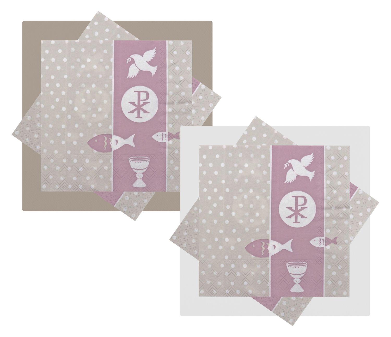 Servietten Symbole Mauve Rosa Tischdeko Kommunion Konfirmation SET 20+20 Stück