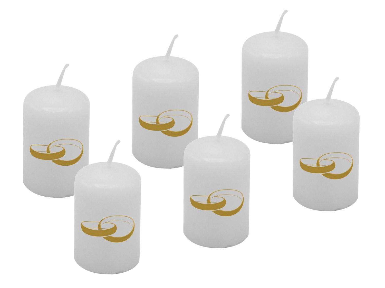 6 Votivkerze Kerze Weiss Ringe Gold Hochzeit Goldhochzeit