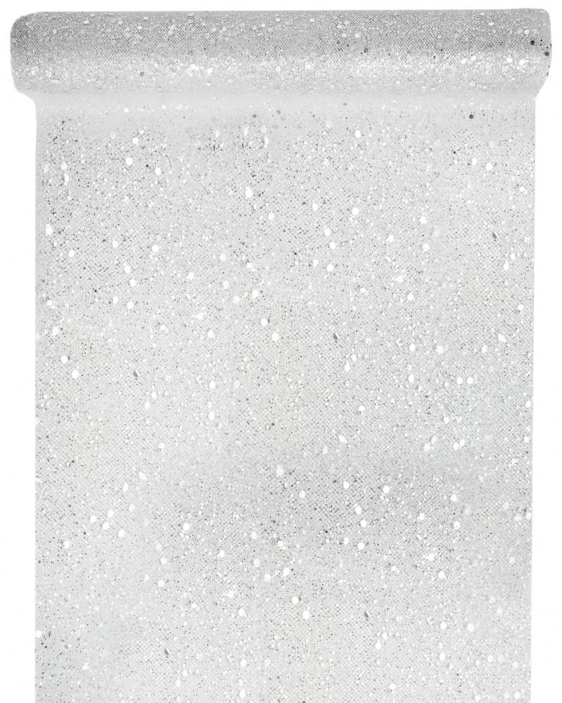 5m Tischläufer Glitter Weihnachten Silber Tischdeko