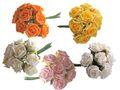 8 Rosen Moosrosen Rosa Orange Gelb Weiß Creme Künstlich Deko Basteln Hochzeit Kommunion Konfirmation 1