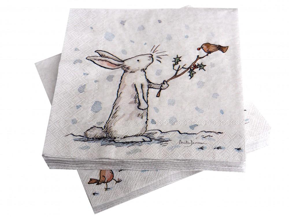Servietten Weihnachten Schneehase Tischdeko Deko Weiß