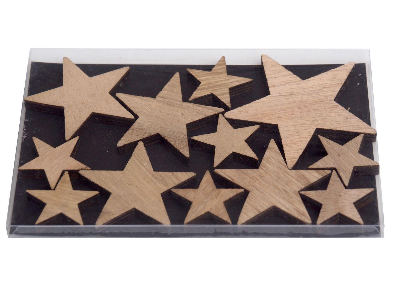 12 Sterne Natur Holz Weihnachten Streudeko