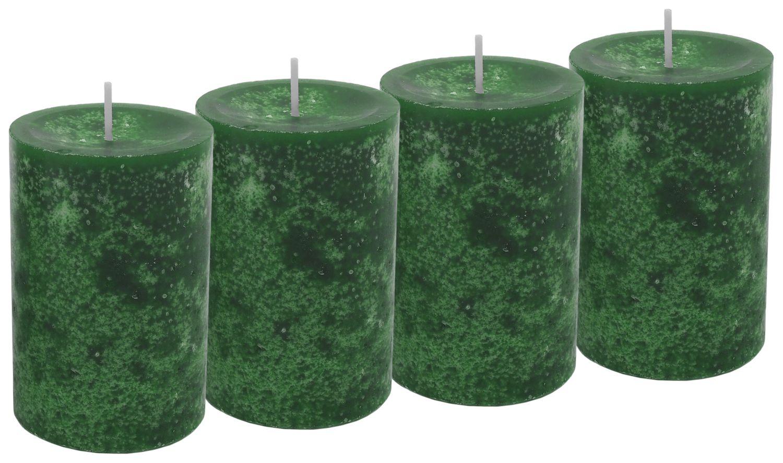 4 Stumpenkerzen Kerzen Dunkelgrün Grün Adventskranz Weihnachten Tischdeko Deko