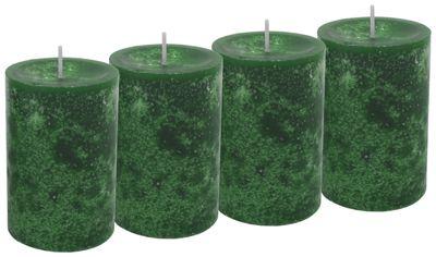 4 Stumpenkerzen Kerzen Dunkelgrün