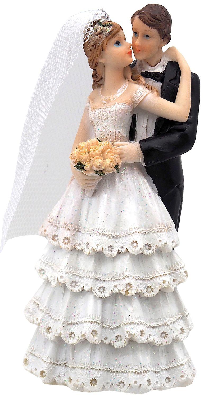 Tortenaufsatz Tortendeko Tortenfigur Hochzeit Brautpaar Weiß Deko