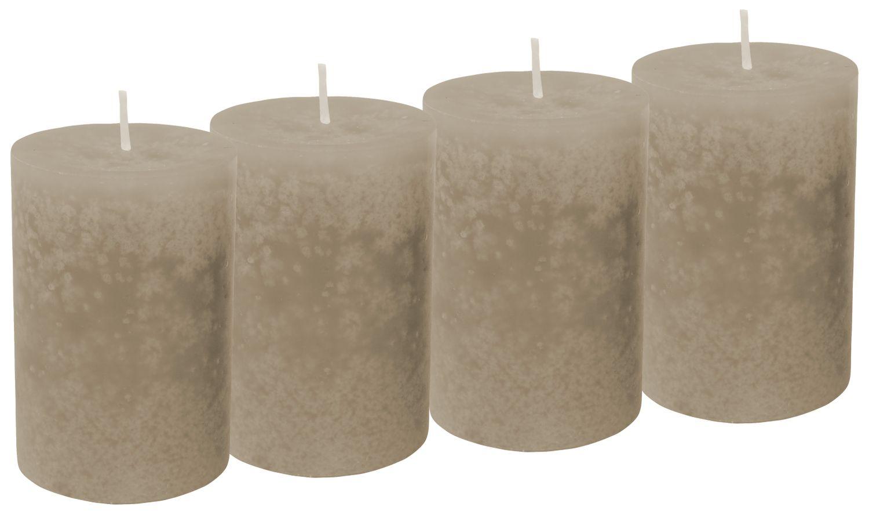 4 Stumpenkerzen Kerzen Braun Taupe Adventskranz Weihnachten Tischdeko Deko Hochzeit Kommunion Konfirmation