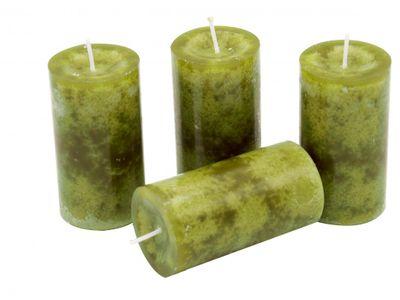 4 Stumpenkerzen Kerzen Grün 5cm