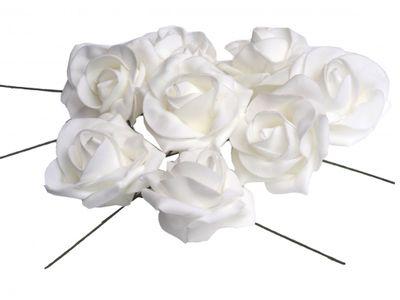 8 Kunstblumen Rosen Kunstrosen Moosrosen Rosen Weiß mit Draht Basteln Hochzeit