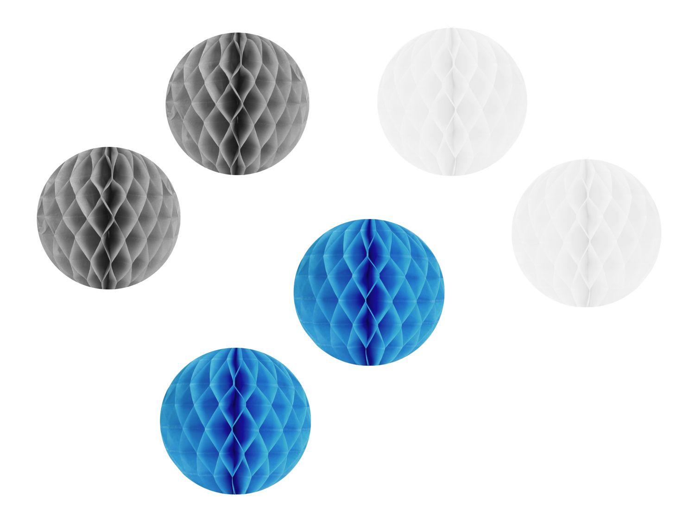 2x Wabenball Papierball Ø 10cm Weiß Grau Blau Deko Hochzeit