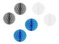 2x Wabenball Papierball Ø 10cm Weiß Grau Blau 001