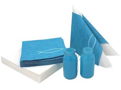 Tischdeko Servietten Kommunion Konfirmation Petrol Weiß Fisch 45 Stück + 2 Vasen