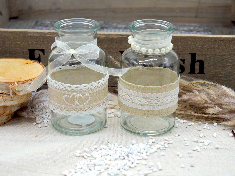 2 Vasen Hochzeit Vintage Tischdeko Gläser Spitze Natur Jute Deko