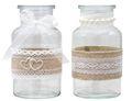 2 Vasen Hochzeit Vintage Tischdeko Gläser Spitze Natur Jute Deko 1