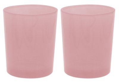 2 Teelichthalter Teelichtgläser Rosa Tischdeko Kommunion Taufe Konfirmation