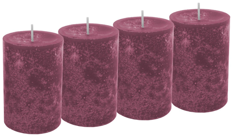 4 Stumpenkerzen Kerzen Erika Beere Pink Violett Adventskranz Weihnachten Tischdeko Deko