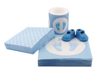 Tischdeko Taufe Blau Junge Baby SET Servietten Kerze Babyschuhe