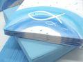 Tischdeko Kommunion Konfirmation Blau Weiß Grau Regenbogen Fisch SET 20 Personen 2