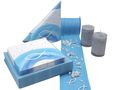 Tischdeko Kommunion Konfirmation Blau Weiß Grau Regenbogen Fisch SET 20 Personen 1