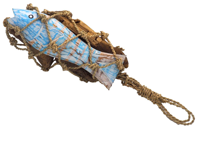 Deko Maritim Holz Fisch Blau Weiß Treibholz Terrasse Garten Meer Natur
