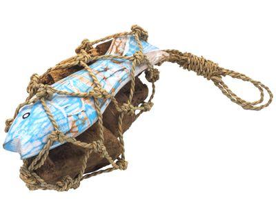 Deko Maritim Holz Fisch Blau Weiß Treibholz