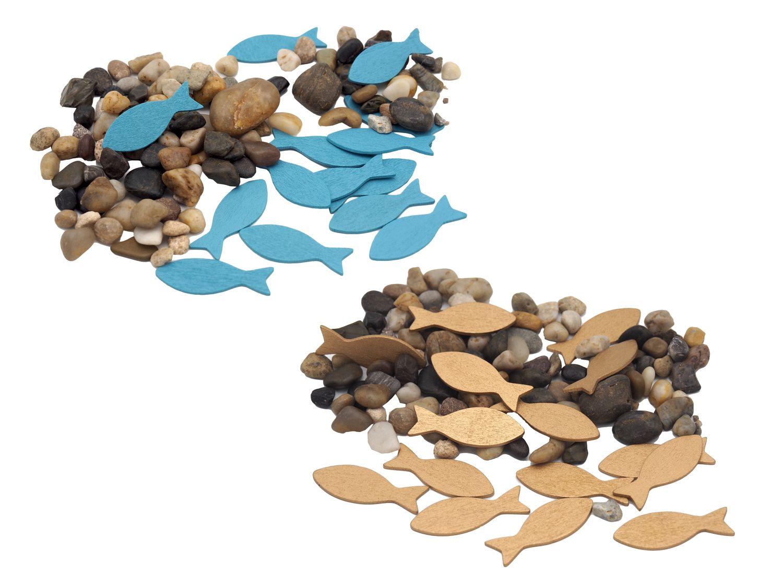 Streudeko Kieselsteine Fische Gold Blau Tischdeko Holz Steine Kommunion Konfirmation