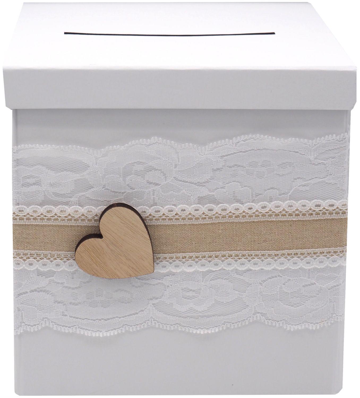 Briefbox ANNA Kartenbox Vintage Herz Spitze Hochzeit Geldgeschenk Weiß