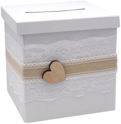 Briefbox ANNA Kartenbox Vintage Herz Spitze