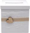 Briefbox ANNA Kartenbox Vintage Herz Spitze Hochzeit Geldgeschenk Weiß 2