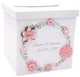 Briefbox Kartenbox MIT NAMEN Hochzeit Vintage Blüten Blumen Rosa Weiß 001