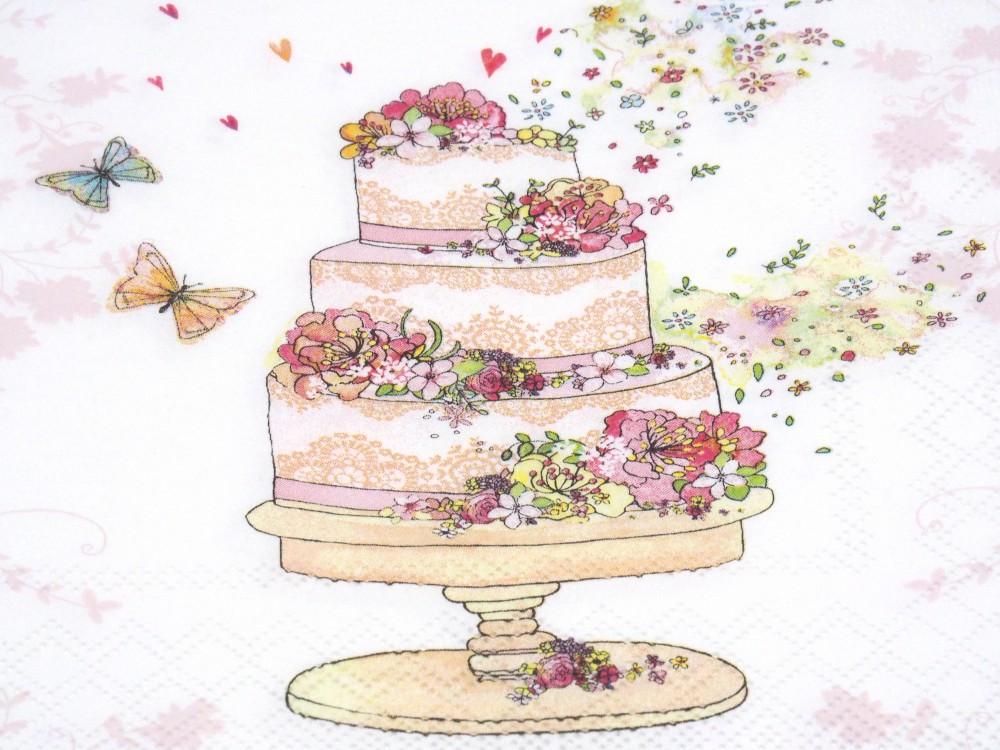 Servietten Hochzeit Hochzeitstorte Tischdeko Torte Rosa Deko
