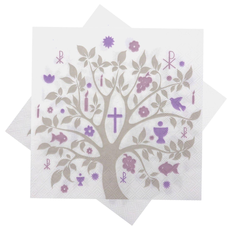 Servietten Baum des Lebens Mauve Taupe Tischdeko Konfirmation Kommunion Lebensbaum 20 Stück