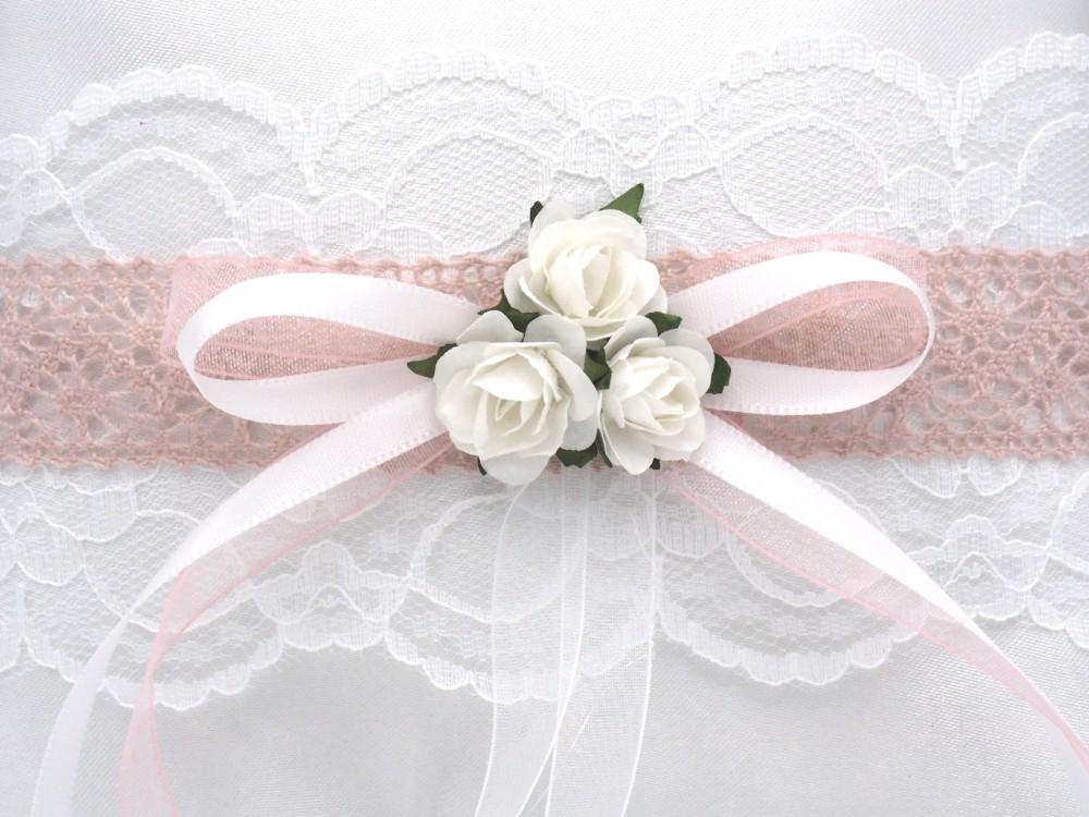 Ringkissen MARINA Vintage Weiß Rosa Hochzeit Braut Traukissen Ringe