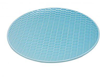 Teller Keramik Mint Blau Relief